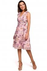 Sukienka w Kwiaty z Podkreśloną Talią - Model 2