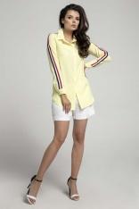 Żółta Długa Koszula z Lampasem na Rękawie
