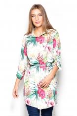 Długa Koszula-Tunika we Wzory Kwiaty na Ecru Tle