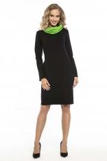 Czarno Zielona Wygodna Sportowa Sukienka z Kominem