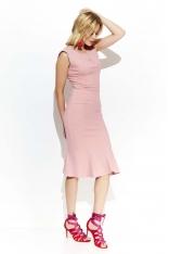 Różowa Elegancka Sukienka Midi w Stylu Rybki