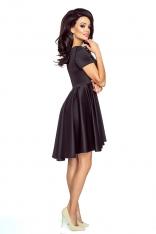 Czarna Elegancka Sukienka z Asymetrycznym Szerokim Dołem