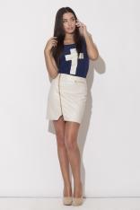 Ecru Mini Spódnica z Długim Asymetrycznym Suwakiem