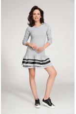 Szara Sukienka Mini z Panelami z Eko-skóry