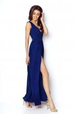 Niebieska Elegancka Maxi Sukienka z Dekoltem V z Przodu i na Plecach
