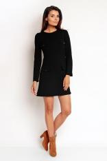 Czarna Prosta Mini Sukienka z Nakładanymi Kieszeniami z Długim Rękawem