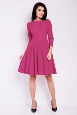 Różowa Sukienka Elegancka Rozkloszowana z Zakładkami przy Dekolcie