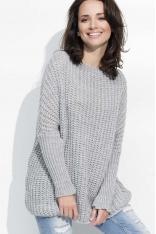 Szary Cieplutki Luźny Sweter z Angielskim Ściegiem