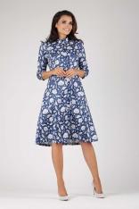 Klasyczna Sukienka Szmizjerka ze Stójką w Białe Kwiaty