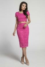 Różowa Dopasowana Spódnica Koronkowa z Wysokim Stanem