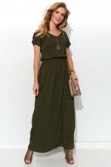 Letnia Sukienka Maxi z Kieszeniami - Khaki