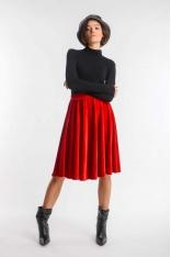 Czerwona Rozkloszowana Midi Spódnica z Weluru