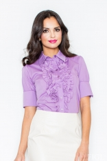 Fioletowa Elegancka Koszula z Falbankami