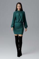 Zielona Dopasowana Sukienka Wizytowa z Ozdobnymi Marszczeniami.