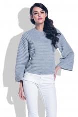 Szary Sweter ze Strukturalnym Splotem z Szerokim Rękawem