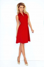 Czerwona Sukienka Szykowna z Rozcięciem przy Dekolcie