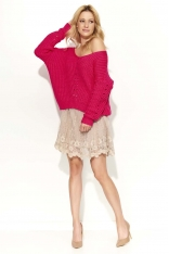 Amarantowy Sweter Krótki z Dużym Dekoltem V