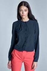 Elegancka Granatowa Bluzka z Zakładkami przy Dekolcie