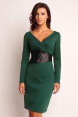 Zielona Wizytowa Sukienka z Dekoltem V z Kontrastowym Panelem w Tali