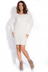 Ecru Sukienka Sweter z Szerokimi Ściągaczami