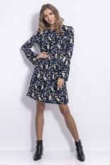 Granatowa  Sukienka z Gumkami w Pasie w Kwiatki