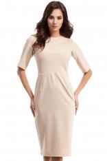 Beżowa Sukienka Elegancka Ołówkowa z Ozdobnym Marszczeniem
