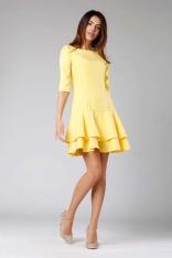 Żółta Prosta Sukienka z Podwójną Falbanką u Dołu