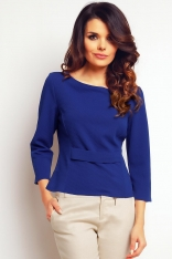 Prosta Niebieska Elegancka Bluzka
