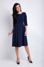 Granatowa Sukienka Rozkloszowana Midi z Asymetrycznym Dekoltem