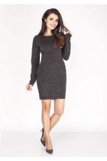 Czarna Sukienka Melanżowa Prosta Mini z Kieszeniami