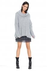 Szary Oversizowy Sweter z Wywijanym Golfem