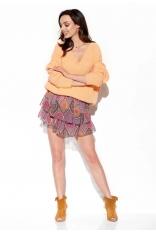 Zwiewna Wzorzysta Mini Spódnica z Jedwabiem - Druk 20