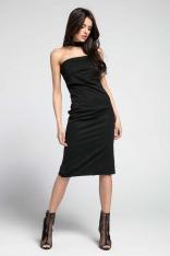 Czarna Elegancka Dopasowana Sukienka z Odkrytymi Ramionami