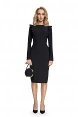 Ołówkowa Sukienka z Falbankami przy Rękawach- Czarna
