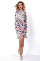 Asymetryczna Sukienka w Kwiaty ze Stójką