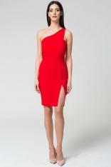 Czerwona Wyjściowa Dopasowana Sukienka na Jedno Ramię