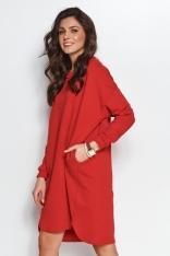Dresowa Sukienka z Asymetrycznym Dołem - Czerwona