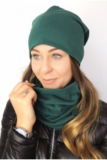 Jesienno-zimowy Komplet Czapka i Komin Damski – Zielony