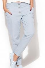 Oryginalne Spodnie z Dużymi Guzikami - Błękitny