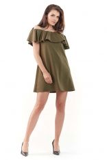 Khaki Wyjściowa Sukienka Mini Typu Hiszpanka