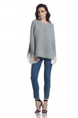 Jasnoszary Asymetryczny Oversizowy Sweter z Szyfonową Falbanką