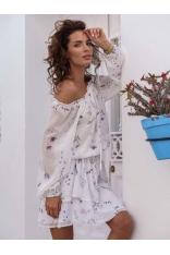 Zwiewna Sukienka w Hiszpańskim Stylu w Delikatny Wzór