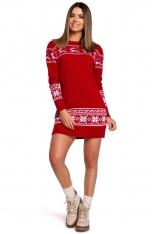 Czerwona Prosta Swetrowa Sukienka ze Świątecznym Motywem