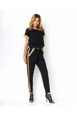 Czarny Dresowy Komplet Bluza + Spodnie z Tiulem i Eko-skórą