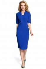 Chabrowa Sukienka Ołówkowa Midi z Efektownym Dekoltem