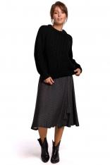 Czarny Klasyczny Sweter z Dekoltem Pod Szyję