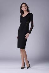 Czarna Elegancka Ołówkowa Sukienka z Prześwitującymi Detalami