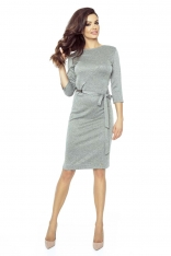 Ciemno Szara Ołówkowa Sukienka z Ozdobnym Paskiem