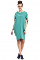 Zielona Sukienka-Tunika z Geometrycznymi Cięciami