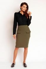 Khaki Modna Ołówkowa Midi Spódnica z Nakładanymi Kieszeniami